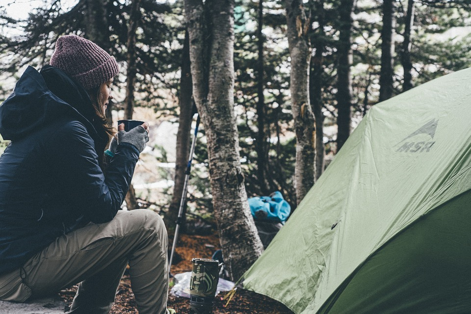 Nature Girl Woman People Camping Jacket Tent