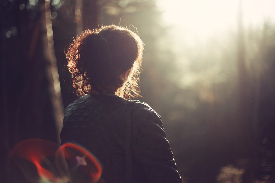 Woman Girl Peace Of Mind Outdoors Alone Forest