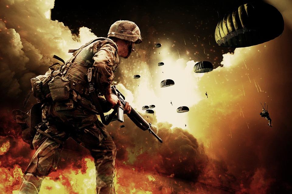 Explosion Paratroopers War Warrior Soldiers Guns
