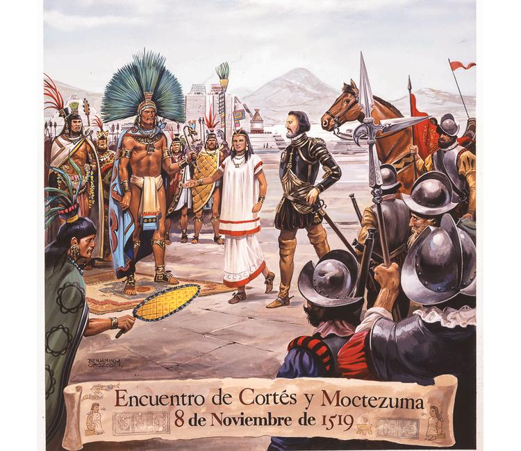Encuentro de Cortés y Moctezuma 8 de noviembre de 1519 lustracióN: beNJaMíN orozco / raíces